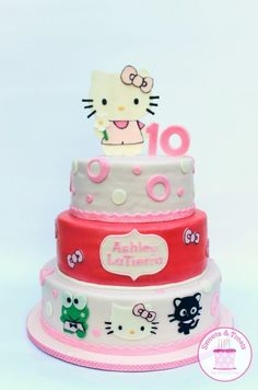 A Hello Kitty Inspired Cake For A Birthday All Decorations Are Handcut Fondant