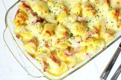 Rezepte mit Herz ♥: Blumenkohl - Kartoffel - Auflauf mit Schinken und Curry - Hollandaise