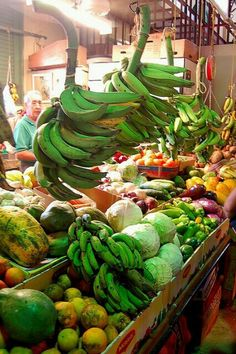 "Puerto Rico farmers market. I love the green plantains.. ""Platanos"""