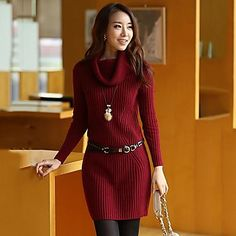 Women's Slim Elegant High Neck Sweater (More Color) - BRL R$ 92,31