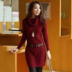 Women's Slim Elegant High Neck Sweater (More Color) - BRL R$ 92,31