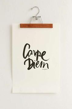 Karen Hofstetter Carpe Diem Art Print& wall clip at urban outfitters Carpe Diem, My First Apartment, Apartment Living, Living Room, Wall Clips, Minimal Decor, Pennant Banners, Nursery Art, Wall Decals