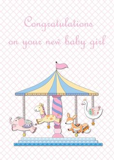 Buy 'Animal Carousel New Baby Boy Greeting Card' by Whimsydesigns as a Greeting Card Baby Boy Congratulations Messages, Custom Invitations, Party Invitations, Quatrefoil Pattern, New Baby Boys, Custom Cards, New Baby Products, Whimsical, Cute Animals