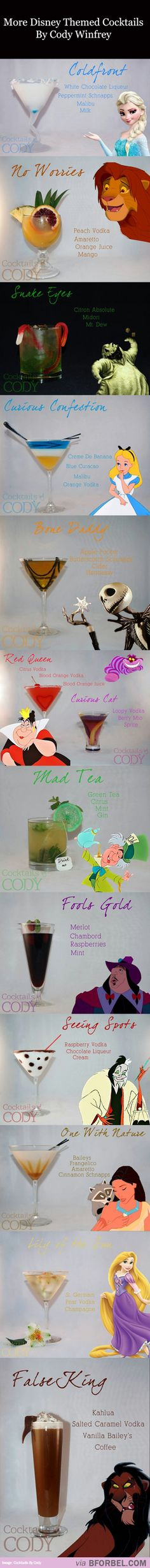12 More Disney-Themed Cocktails. Disney and cocktails. Disney Cocktails, Cocktails Bar, Party Drinks, Cocktail Drinks, Cocktail Recipes, Drink Recipes, Party Favors, Party Recipes, Disney Themed Drinks