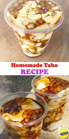 "Homemade Taho Recipe - e.h - Homemade Taho Recipe These are Taho Vendors trying to attract customers and letting them know of their presence. You'll see children waiting in front of their houses for the ""Magtataho"" carrying their own cups. Pinoy Dessert, Filipino Desserts, Asian Desserts, Asian Recipes, Filipino Food, Best Filipino Recipes, Tofu Dessert, Philippines Food, Attract Customers"