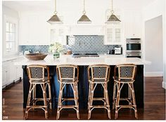Blue French Bistro Counter Stools - Design photos, ideas and inspiration. Amazing gallery of interior design and decorating ideas of Blue French Bistro Counter Stools in living rooms, kitchens by elite interior designers. French Bistro Chairs, Bistro Kitchen Decor, Kitchen Inspirations, Cafe Chairs, Traditional House, Bistro Style, House, Bistro Stools, Phoenix Homes