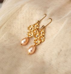 Cherry Blossom Gold Wedding Bridesmaid Earrings Rose Peach Swarovski Crystal Pearl Drop Earrings Wedding bridesmaid gift jewelry
