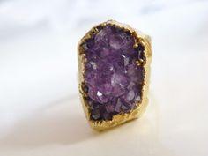 Vintage 18k Gold on Sterling Silver Amethyst Raw Drusy Druzy Geode Cluster Ring #Handmade #Cocktail#goldjewelry #modernistjewelry #studiojewelry #vintagestudiojewelry #jewelry #silverjewelry #goldplatedjewelry #cocktailring #retrojewelry #vintagejewelry #vintagesterlingjewelry #druzy #drusy #amethyst #amethystdrusy #cluster #geode #geodejewelry #rawgemstones #naturalgemstones #gemstones #midcenturyjewelry #midcenturyring #midcentury #retrosterlingjewelry #vintagejewelry #vintagemodernjewelry