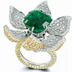 CLOSE UP: Glenn Spiro's playful emerald, white and yellow diamond flower ring is a reminder of creation and innovation in fine jewellery.