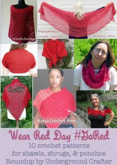 Wear Red Day roundup, mostly free crochet patterns for shawls, shrugs, ponchos by Underground Crafter