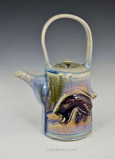Handmade porcelain Teapot 10.5 inch, Blue Crystal Glaze