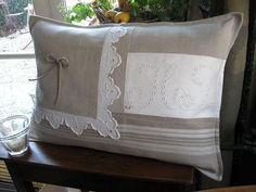 For my Mom's quilt set, use remaining scraps Small Pillows, Diy Pillows, Linen Pillows, Decorative Pillows, Cushion Covers, Pillow Covers, Linens And Lace, Scatter Cushions, Cousins
