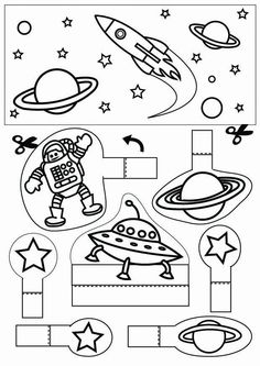 space - Coloring pages and crafts Space Preschool, Space Activities, Science Activities, Activities For Kids, Astronomy Crafts, Space And Astronomy, Astronomy Stars, Space Party, Space Theme