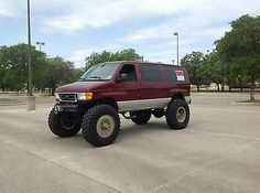 Ford van with tires and 5 ton rockwells. 4x4 Van, Ford 4x4, Jeep 4x4, 4x4 Trucks, Ford Trucks, Lifted Trucks, Custom Trucks, Ambulance, Ford Van Conversion