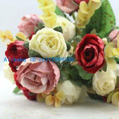 1 Bouquet Silk Roses Wedding Artificial Flowers 4 Colors Available F53 US $3.49