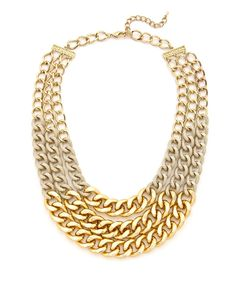 Two-Tone Chain Necklace - Gold #shoplately