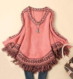 Floral Print Tassel Embellished Stylish V-Neck Long Sleeve Sweater For Women