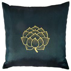 Thai Silk Throw Pillow Cover, Lotus Bloom Design, Green