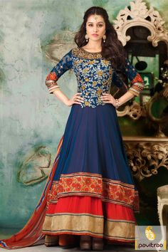 Pavitraa Cobalt Blue and Red Floor Length Anarkali Dress Rs 5241.6 #shrdhakapoor #salwarsuits #onlineshoppingdress