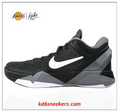 Nike Kobe VII 7 Gray White Black Basketball Shoes