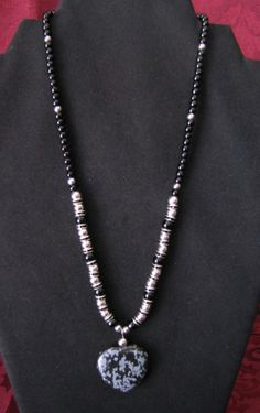 Snowflake Obsidian Heart Necklace with black by PirateKatsBooty, $20.00