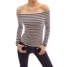 Creative Fashion T Shirt Women Off Shoulder Long Sleeve Stretch Slim T-Shirt Stripe Casual Sexy T-shirt
