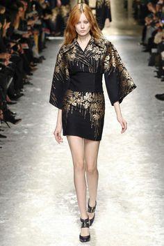 Black modern kimono at catwalk