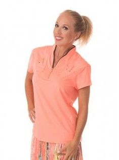 Jamie Sadock Radiance Women's Short Sleeve Mock Neck Golf Shirt with Accent Pockets- Radiance Coral  Jamie Sadock Radiance Group- Fall Collection for Golf - Ladies Golf Apparel - Golf Outfits- Coral and Brown- Jamie Sadock Womens Golf - Golf Shirts- Golf Pants - on and off the course fashion - ladies new arrivals #golfcourses