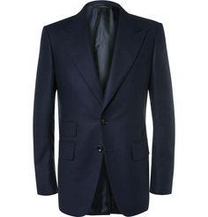 TOM FORD Blue Wool-Flannel Suit Jacket. #tomford #cloth #suits