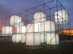 a temporary, large-scale, public art, light sculpture created by artist John Ensor Parker. Outdoor Sculpture, Lighting Sculpture, Urban Rooms, Cube World, Point Cloud, Garden Pavilion, Sketches Of People, Mural Wall Art, Urban Farming