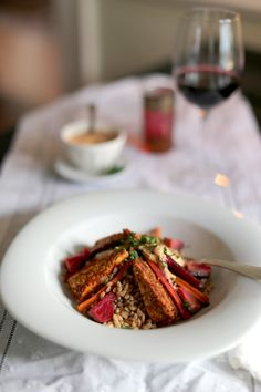 Beer + Harissa Braised Tempeh with Farro & Roasted Root Vegetables