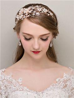 Luxrious Floral Pearls Rhinestone Bridal Headbands Tiara
