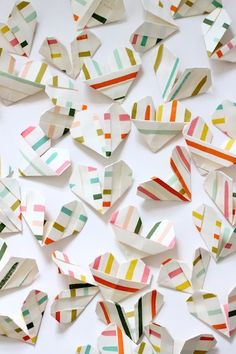 Colorful Origami Hearts | 10 Best DIY Valentines | Camille Styles