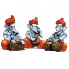 Ganesh Chaturthi : Fiber Ganesha - Set of 3