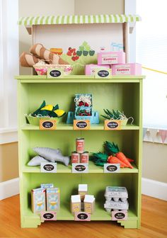 And to go with the play kitchen - a play supermarket/grocery store from an old bookcase
