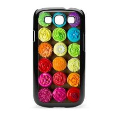 Amazon.com: Samsung Galaxy S III S3 Black KB95 Hard Back Case Cover Colorful Rainbow Cupcakes Design: Cell Phones & Accessories