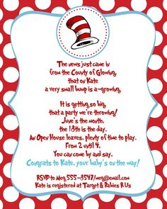 Dr Seuss Baby Shower Birthday Party by ExpressionsPaperie on Etsy, $11.00