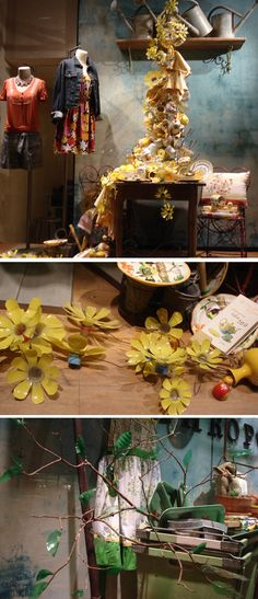 "Anthropologie, Rockefeller Center, New York, ""Transforming the Ordinary into ART"", pinned by Ton van der Veer Plastic Bottle Caps, Plastic Bottle Flowers, Plastic Art, Recycle Plastic Bottles, Bottle Art, Bottle Crafts, Anthropologie Display, Flower Studio, Recycled Crafts"