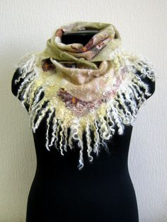 Solitaire - a small shawl - scarf - nunovoylok - silk and merino - the only one - ready to ship.