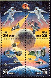 """madddscience: """" """"With the advent of a cooperative space station program which included the Russian space program, a commerative stamp was issued in ~NASA """" Commemorative Stamps, Going Postal, Space Race, Space Program, Vintage Stamps, Stamp Collecting, My Stamp, Space Gallery, Nasa"""