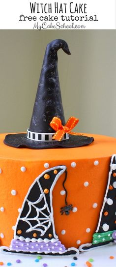 In this free cake decorating tutorial, learn to create the CUTEST Halloween themed cake with creatively decorated witch hats! Halloween Birthday Cakes, Halloween Desserts, Halloween Food For Party, Halloween Cupcakes, Birthday Cake Girls, Halloween Treats, Haloween Cakes, Witch Party, Halloween Foods