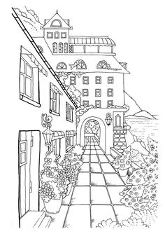 Nice Little Town 2 (Adult Coloring Book, Digital Pages, Stress Relieving, Coloring pages printable, Gift Ideas) Coloring Book Pages, Printable Coloring Pages, Coloring Sheets, Perspective Drawing, House Drawing, Town Drawing, Drawing Sketches, Drawings, How To Relieve Stress