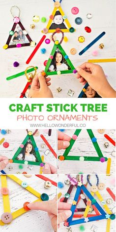 Gifts for parents diy photo ornaments ideas Diy Photo Ornaments, Photo Christmas Ornaments, Christmas Arts And Crafts, Preschool Christmas, Ornament Crafts, Christmas Activities, Craft Stick Crafts, Kids Christmas, Holiday Crafts