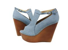 Annabel Denim Open Toe Wedge