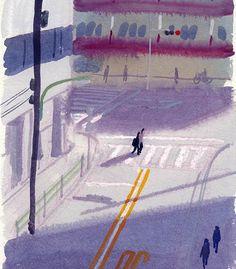 "88 Likes, 4 Comments - 山本重也 (@shigeya_yamamoto) on Instagram: ""#Watercolor  #水彩 #tokyo #東京 #illustration #イラストレーション #風景 #landscape #日差し #sunlight"""
