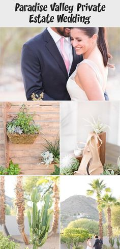 Gorgeous desert wedding at a private estate in Paradise Valley, Arizona. The bride wore a simple tea-length gown and strappy nude heels. She carried a stunning bouquet made almost exclusively of succulents. And all of the  reception and wedding decor was greenery made of succulents, cacti, and eucalyptus table runners, set against natural wood tables, chairs, and backdrops. #gardenweddingEntrance #gardenweddingVenues #Smallgardenwedding #gardenweddingBouquet #gardenweddingStage