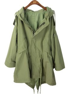Green Hooded Batwing Trench Coat