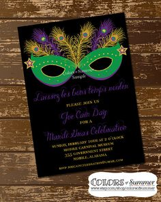 Mardi Gras Mask Invitation  Digital File by colorsofsummer on Etsy, $12.00