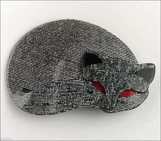 Lea Stein Figural Grey Gomina Sleeping Cat Brooch Pin French Cellulose Acetate | eBay