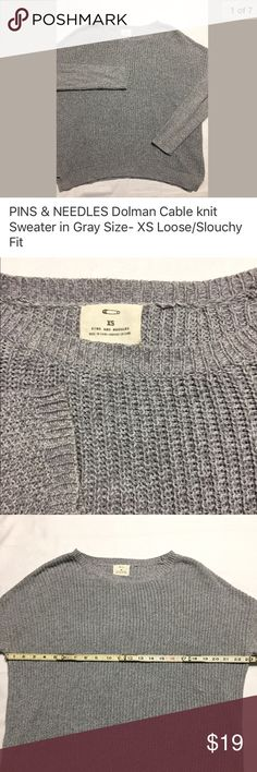 """PINS & NEEDLES Dolman Knit Sweater in Gray XS PINS & NEEDLES Dolman Knit Sweater. Excellent preowned condition- NO holes, rips or stains. Ready to ship.    Swingy/Slouchy fit. Split hem Cotton/acrylic Handwash Size on tag: S 23"""" from armpit to armpit 20"""" from shoulder to cuff 22"""" collar to hem Pins & Needles Sweaters Crew & Scoop Necks"""